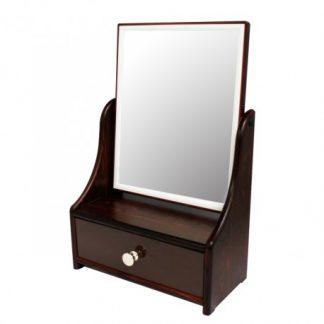 亮顏黑檀方型梳妝抽屜鏡檯